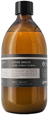 ALPINE BREEZE - Raumspray Wäschespray Zirbenholz Duftspray, 500 ml Glas mit Triggersprayer
