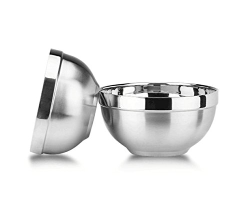 2-Piece Double-deck SU304 Stainless Steel Bowls ,Cereal Bowls, Dessert Bowls ,Fruit Bowls, Pasta Bowls ,Rice Bowls,suitable for soup and for children using (16cm)