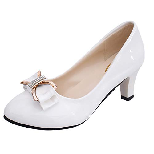 (Sunhusing Women's Casual Bow Knot Patent Leather Shallow Mouth High Heel Shoes Anti-Skid Work Office Shoes White)