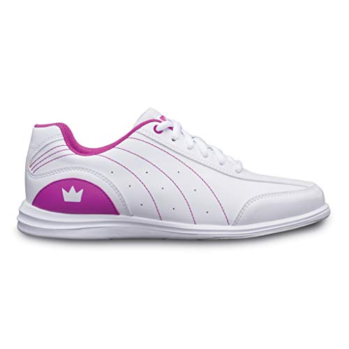 Brunswick Bowling Products Girls Mystic Bowling Shoes- 02 (Youth), White/Fuchsia, ()