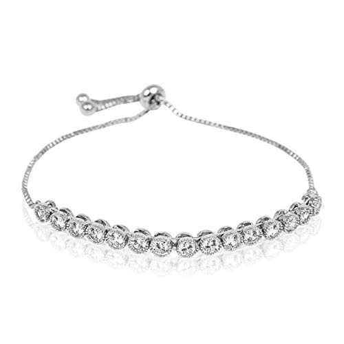 (RIAH FASHION Sparkly Crystal Rhinestone Cubic Zirconia Bridal Bracelet - Pave Wedding Statement Cuff Bangle Adjustable Wrist Slide Tennis Bolo/Pearl Wrap Stack (Bezel Set - Silver))