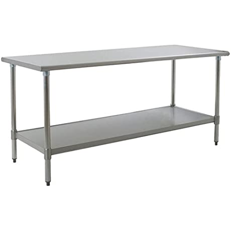 Eagle T3684EB Stainless Steel Work Table With Galvanized Shelf Base 36 X 84 X 30
