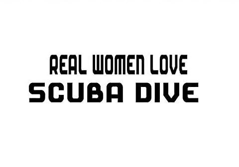 REAL WOMEN LOVE SCUBA DIVE Decal Car Laptop Wall Sticker - Divas Womens Shirts