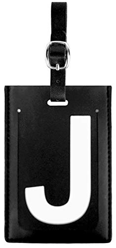 Personalized Leather Luggage Tag: High-Contrast Debossed Initial J – Flexible Custom Travel Tag w/Extra Address Cards & Privacy Flap to Protect Personal Information (1-pack, J)