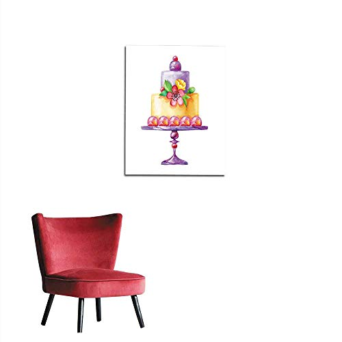 longbuyer Wall Sticker Decals Watercolor Illustration Holiday Cake Isolated on White Background Flowers Birthday Party Wedding Anniversary Greeting Card Design Yellow and Purple Mural 16