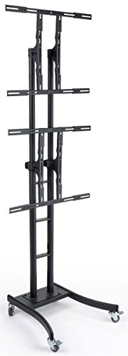 Mobile TV Stand for Floor, Dual Monitor Mount for 32 to 65 Inch Monitors