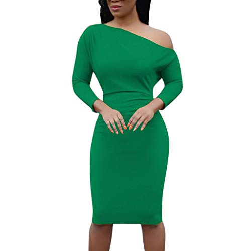 Pandaie-Womens Dresses, Women One Shoulder Three Quarters Sleeves Dress Solid Skew Neck Bodycon Dress
