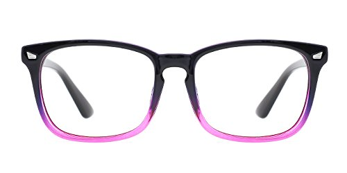 - TIJN Womens Square Optical Non-Prescription Glasses Frame Clear Lens Eyeglasses,Purple Gradient Pink