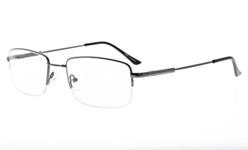 - Eyekepper Mens Half-Rim Reading Glasses Memory Readers with Bendable Titanium Bridge and Temple (Gunmetal,+1.75)