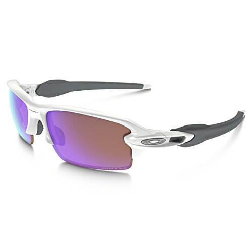 Oakley Men's OO9271 Flak 2.0 Asian Fit Rectangular Sunglasses, Polished White/Prizm Golf, 61 - Jacket Oakley Half Golf