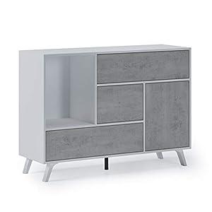 Home Innovation – Buffet de Salon/Salle à Manger, Buffet Wind 1 Porte, 3 tiroirs, Structure Couleur Blanc Mat, Porte et…