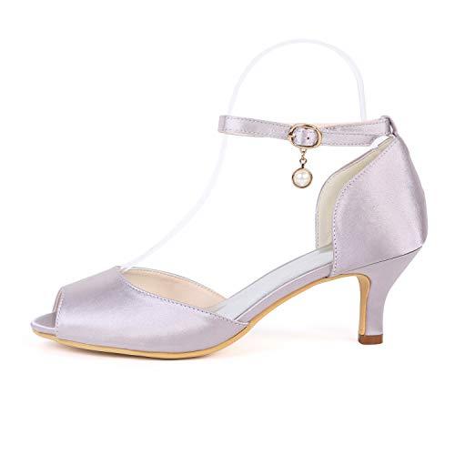 De Cerrada Y Pink Hebilla 6 Zapatos Mujer Con Tacón Corte yc Cm L tacones Plataforma Zapatillas Noche Boda Satén Alto wHX14vWqAc