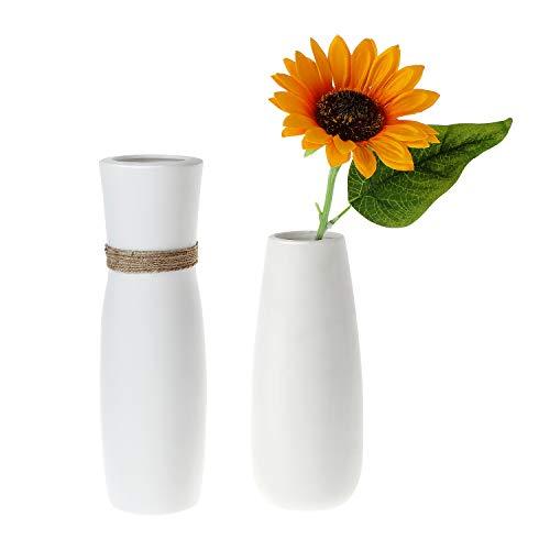 ComSaf Jarron unicos de Ceramica Blanco Paquete de 2, Flores Plantas Florero Moderno de Porcelana Decoracion para Mesa de Comedor Sala de Estar Idea Regalo para Cumpleanos Boda Navidad