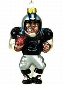 SC Sports Carolina Panthers 4 Inch Glass Football Player Ornament - Nfl Glass Player Ornament
