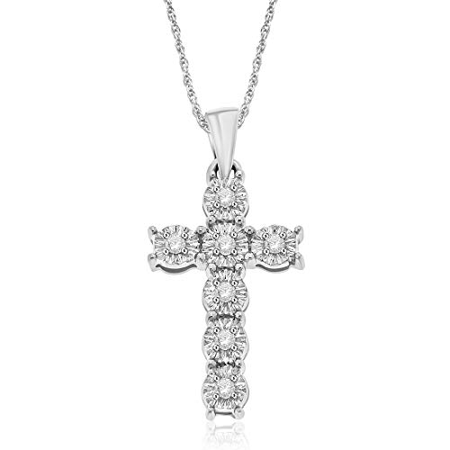 NATALIA DRAKE Sterling Silver 1/10ctw Diamond Christian Cross Pendant Necklace
