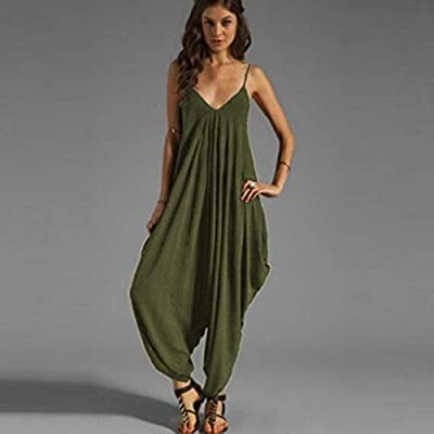 HIRIRI Women's Spaghetti Strap Jumpsuit V Neckline Camisole Comfy Loose Harem One Piece Romper: Clothing