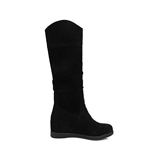 AllhqFashion Mujeres Gamuza(Imitado) Caña Alta Tachonado Sin cordones Tacón Medio Botas Negro