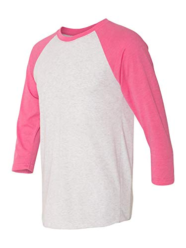 (Next Level Apparel 6051 Unisex Tri-Blend 3 by 4 Sleeve Raglan - Vintage Pink & Heather White44; Small)