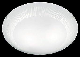 Plaf/ón con 2 luces Trio cristal satinado con cenefa rayas