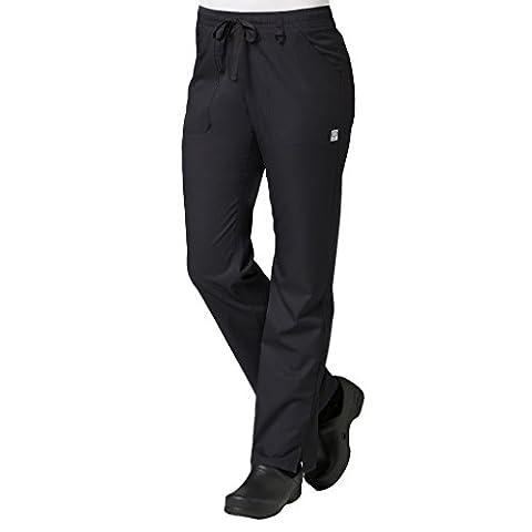 Maevn Women's Eon Full Elastic Cargo Scrub Pant, Black, Small - Elastic Cargo Scrub Pants