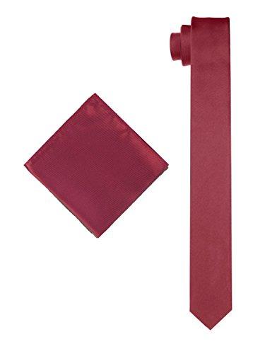 Men's Solid Slim Necktie with Matching Pocket Hanky - Cranberry