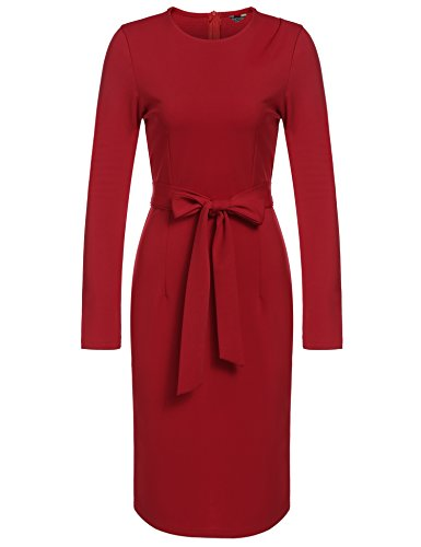 Work Dress with Business Women Retro Long Pencil ANGVNS Red Sleeve Wear to Belt Office YFHqaUx