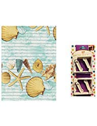 Vinyl Tablecloth Seashells Ocean Beach Theme, Flannel Backed, 60 x 102 Rectangle, Plus 4 White Spring-Loaded Clips To Secure Table Cover For Outdoor Dining