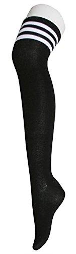 Womens Over Knee Stripe Socks Girls Thigh High Long Cosplay Socks Black White by Azue (Image #6)
