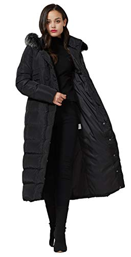 Molodo Women's Long Down Coat with Fur Hood Maxi Down Parka Puffer Jacket XL ()