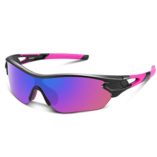 (Polarized Sports Sunglasses for Men Women Youth Baseball Cycling Running Driving Fishing Golf Motorcycle TAC Glasses (Black Pink))