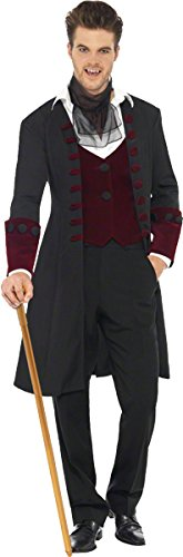 Smiffy's Men's Fever Gothic Vamp Costume, Coat, Mock Waistcoat and Cravat, Halloween, Fever, Size M, 21323 (Vampire Costume Men)