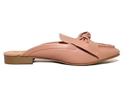 Chalres Albert Womens Gold Tone Horsebit Hardware Backless Slip On Loafer (8, Blush)