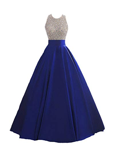 HEIMO Women's Sequins Keyhole Back Evening Ball Gown Beaded Prom Formal Dresses Long H095 8 Royal Blue