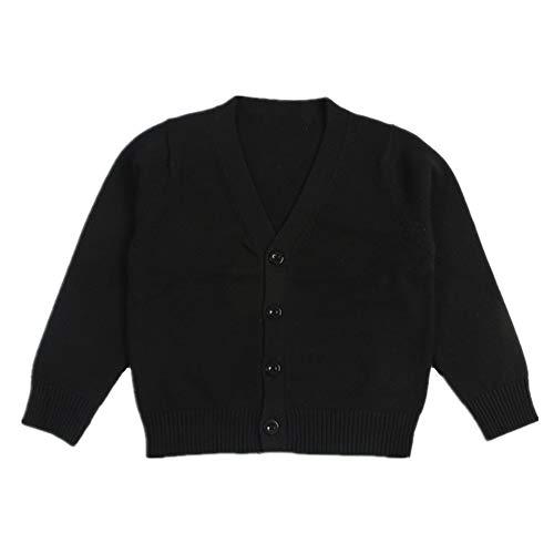 Little Kid Boy Girl Knit Sweater Cardigan Baby V-Neck Button Up Sweatshirt Coat Black 5T