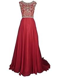 Womens Chiffon and Tulle Beading Long Prom Dress