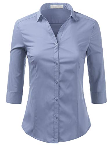 Sleeve Plus Down Blouses Women Slim Size 3 Button Fit 4 Aqua Shirt Foryous YZpUwq