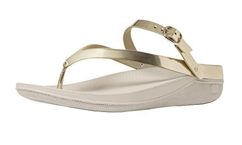 48390c7c70078 Galleon - FitFlop Women s Flip Leather Back-Strap Sandals Gold Mirror 9