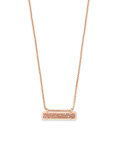 Kendra Scott Leanor Sand Drusy Rose Gold Rectangular Pendant - Rectangular Womens Necklace