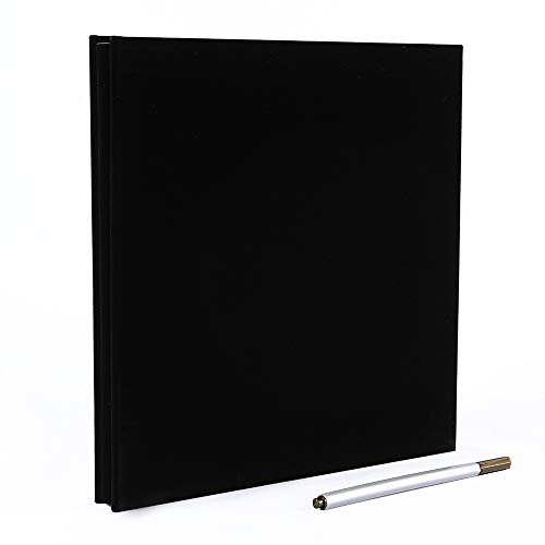 Self Adhesive Photo Album Magnetic Scrapbook Album 40 Pages Suede Hardcover Length 11 x Width 10.6 (Inches) with A Metallic Pen and Photo Album Storage Box DIY Accessories Kits (Black)