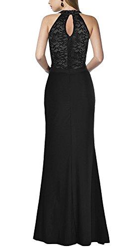Linie Damen Abendkleid für Schlitz A Spitze Langes Halter Burgund mit Lila AwH5zqnUx