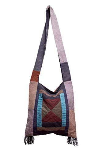 BTP! Thai Monk Buddha Cotton Sling Crossbody Messenger Bag Purse Hippie Hobo Large (Patchwork with Fringe)