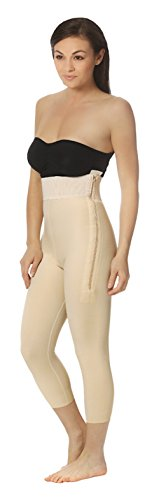 Marena High Waisted Compression Girdle with Mid-Calf Length Legs Beige ()