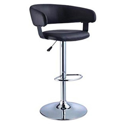 Powell Furniture Black Faux Leather Barrel and Chrome Adjustable Height Bar Stool - Powell Leather Bar Stools