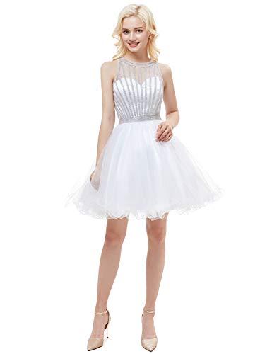 JoyVany Women Organza Beading Homecoming Dresses Short 2019 Formal Gowns White Size 24W Beading Organza Homecoming Dress