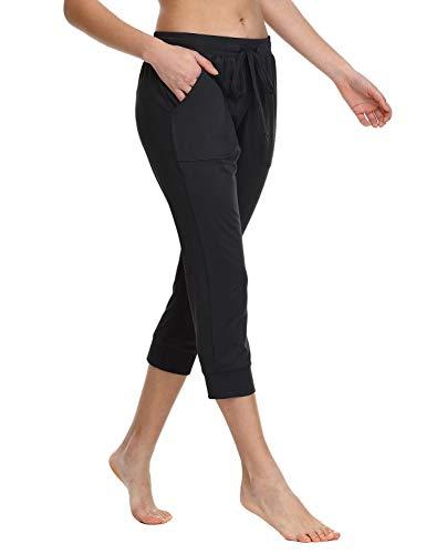 Baleaf Women's Drawstring Capri Lounge Pants with Pockets Active Wear Yoga Running Lightweight Jogger Sweatpants Black XS