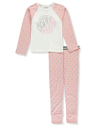 (DKNY Girls' Glitter Dot 2-Piece Pajamas - Pink/Gray, 8-10)