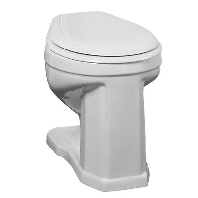 oria Vitreous China Round Front High Tank Toilet, Bowl Only (Round Front Water Closet)