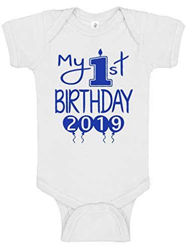Aiden's Corner Handmade 1st Birthday Baby Clothes - Baby Boy My First Birthday Bodysuits & Shirts (12 Months, 2019 Royal White) -