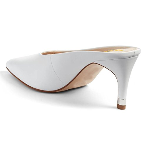 Toe Mid XYD Pointed Casual Mules Slide Slip Ivory Shoes Sandals Women Heel On Clog Retro Pumps qrggWPtB