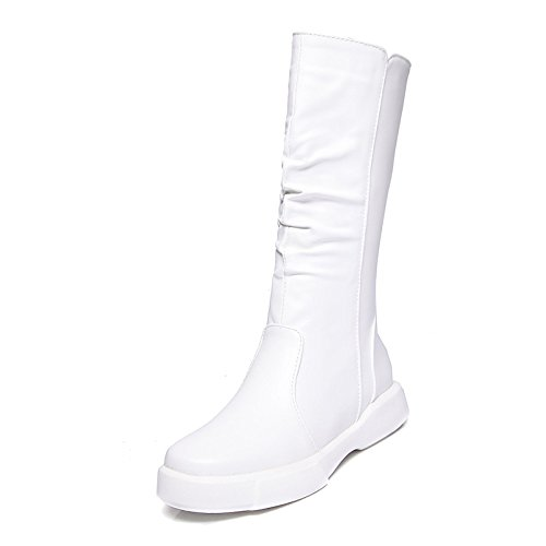 Fashion Boots Round Women's High Leatherette Boots Boots Knee Winter Fall Mid ZHZNVX White Toe Shoes Boots Flat PU Riding Boots HSXZ Calf Combat Boots 7qzCxZw